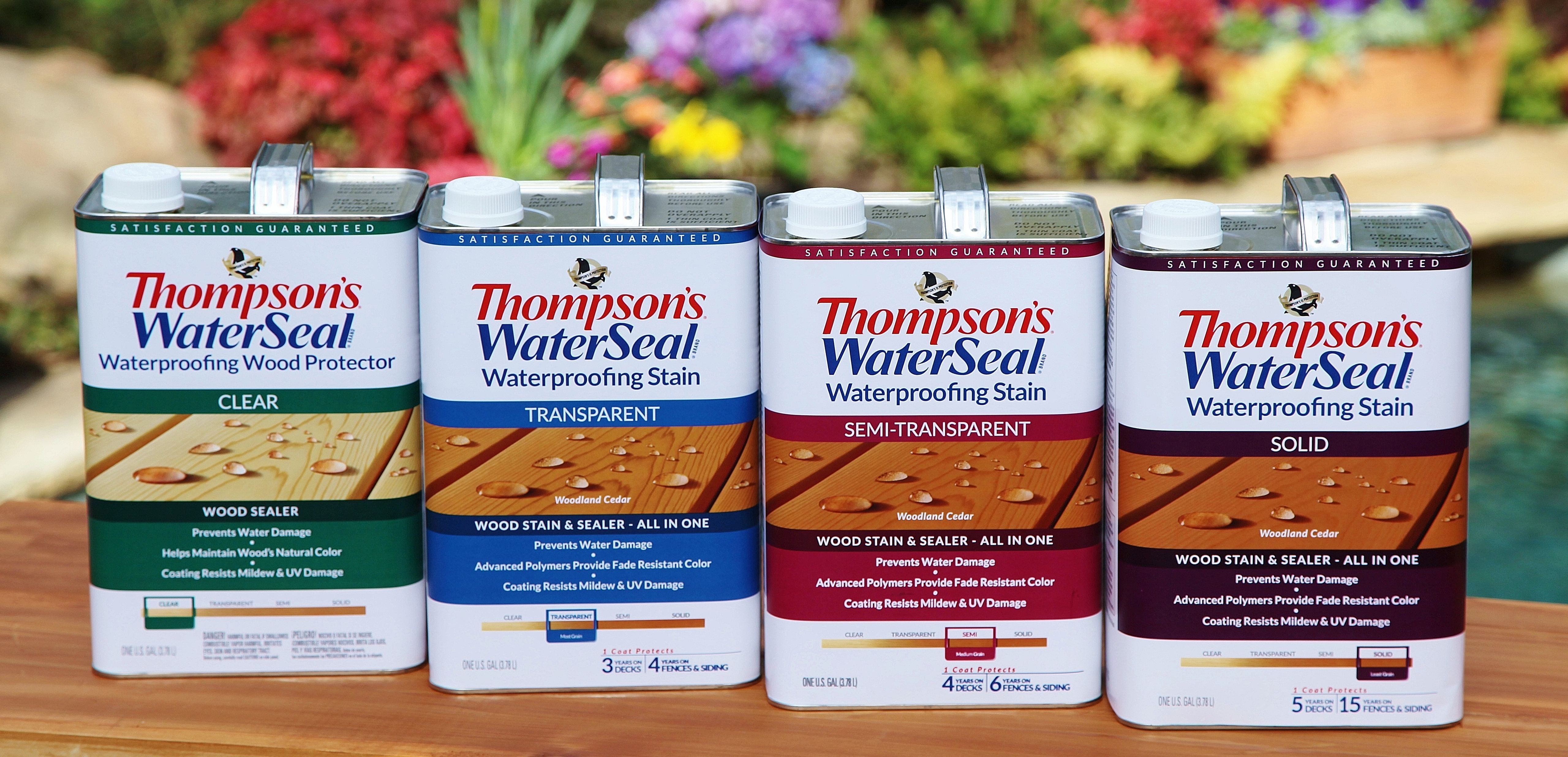 The New Thompson S Waterseal Waterproofing Stain Comes In A Consumer Preferred Square Can With A Sliding Scale Graph Staining Deck Best Deck Sealer Deck Sealer