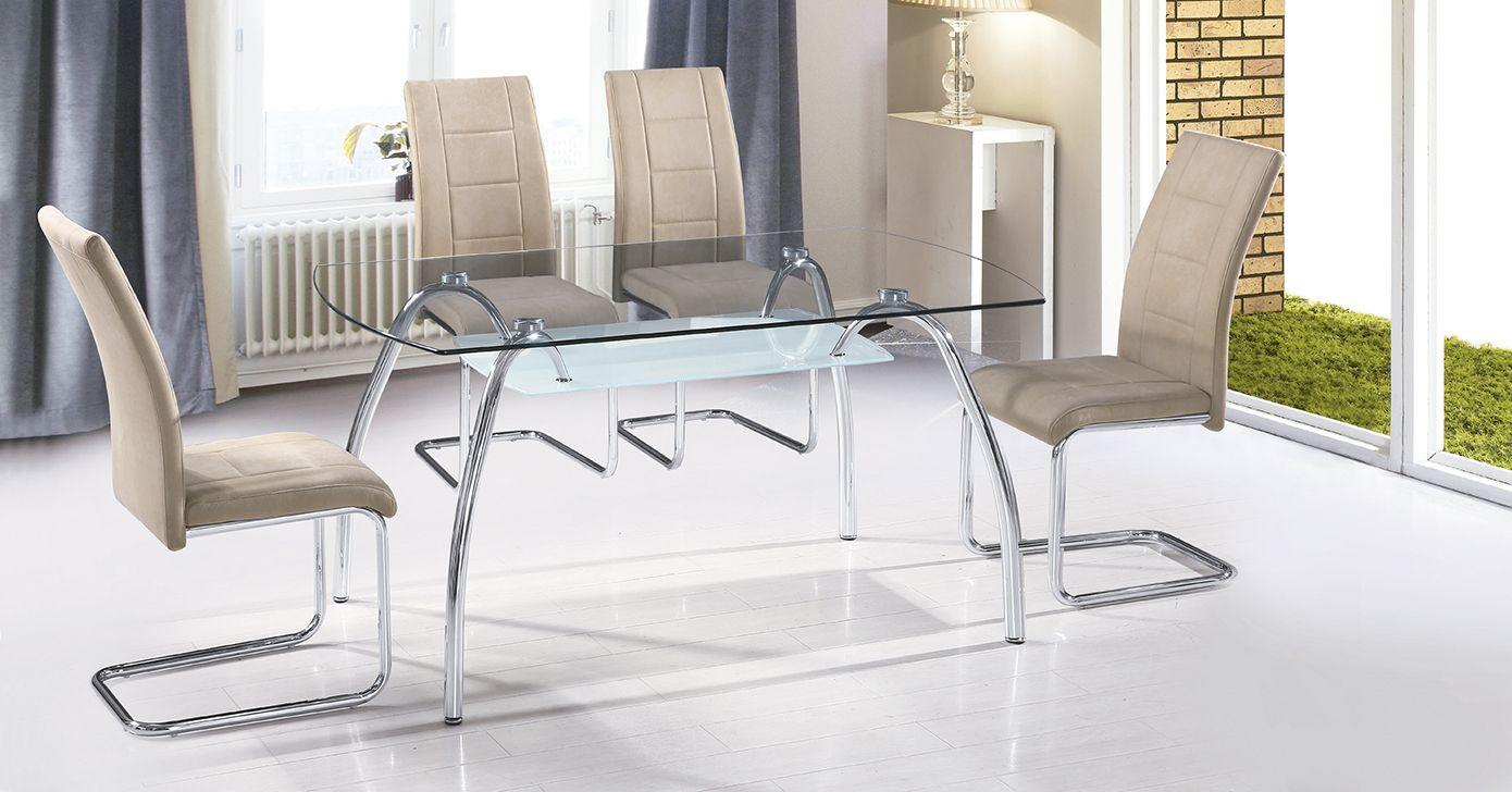 Mesa comedor cristal transparente 150 x 90 patas cromadas. Precio ...