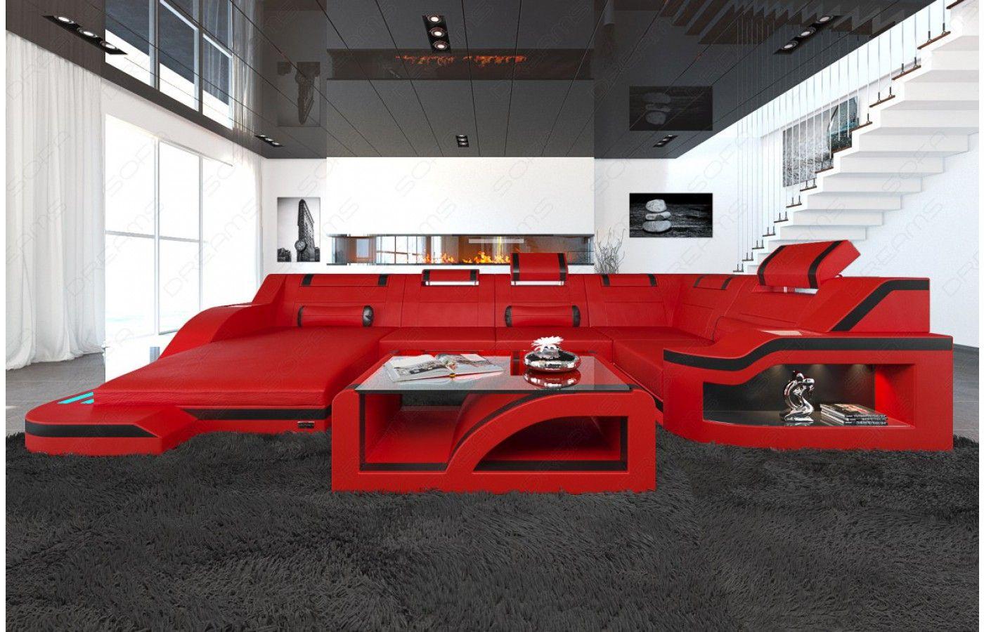 Exklusive Sofas design wohnlandschaft palermo u form mit led exklusiv bei sofa