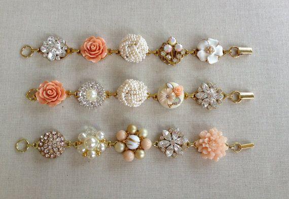 2 Vintage Earring Bracelets, cluster bracelet, rustic wedding, woodland, bridesmaid bracelet, vintage earrings, jewelry, pearl, rhinestone