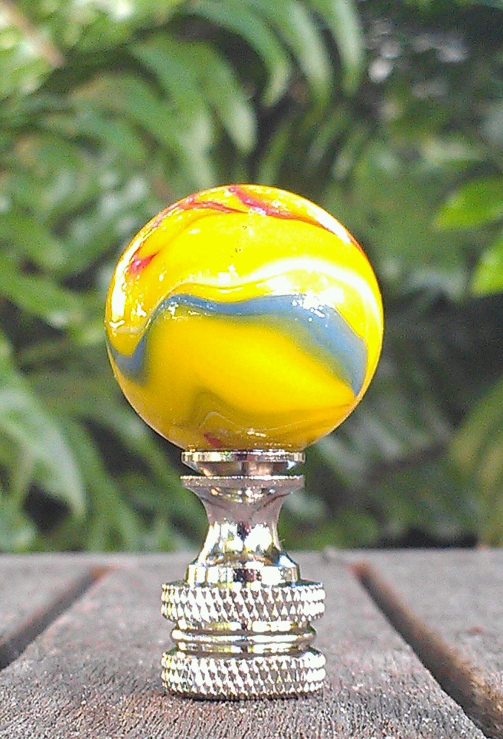 lamp finial yellow glass marble parrot red white blue swirls