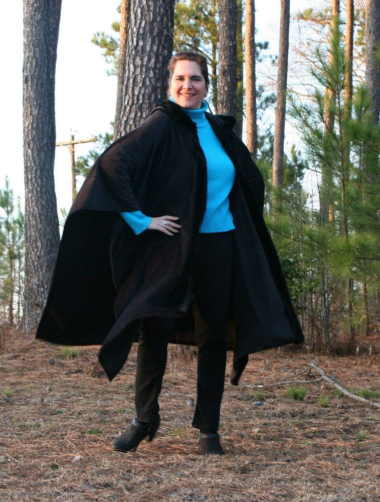 Black Beauty  Hooded Velvet Poncho or Cape with by DonnasDesignsSC, $169.00