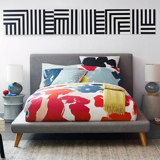 Do It Yourself Home Design: Mod Upholstered Bed Set, King, Heathered Crosshatch