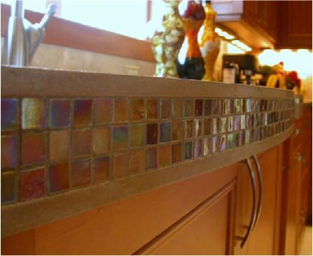 Interesting Detail Using Mosaic Tile On Outside Edge Of A Thick