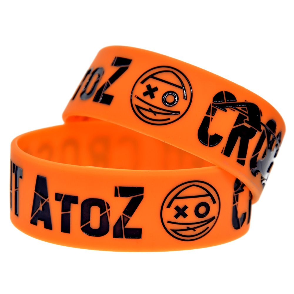 "1PC Crossfit A to Z Silicone Bracelet 1"" Wide Band 2 Colours Available"