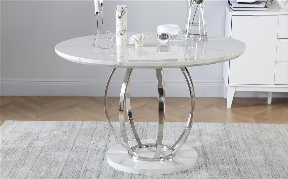 Savoy Round White Marble And Chrome 120cm Dining Table Furniture Choice Grey Leather Dining Chair Chrome Dining Table Dining Table