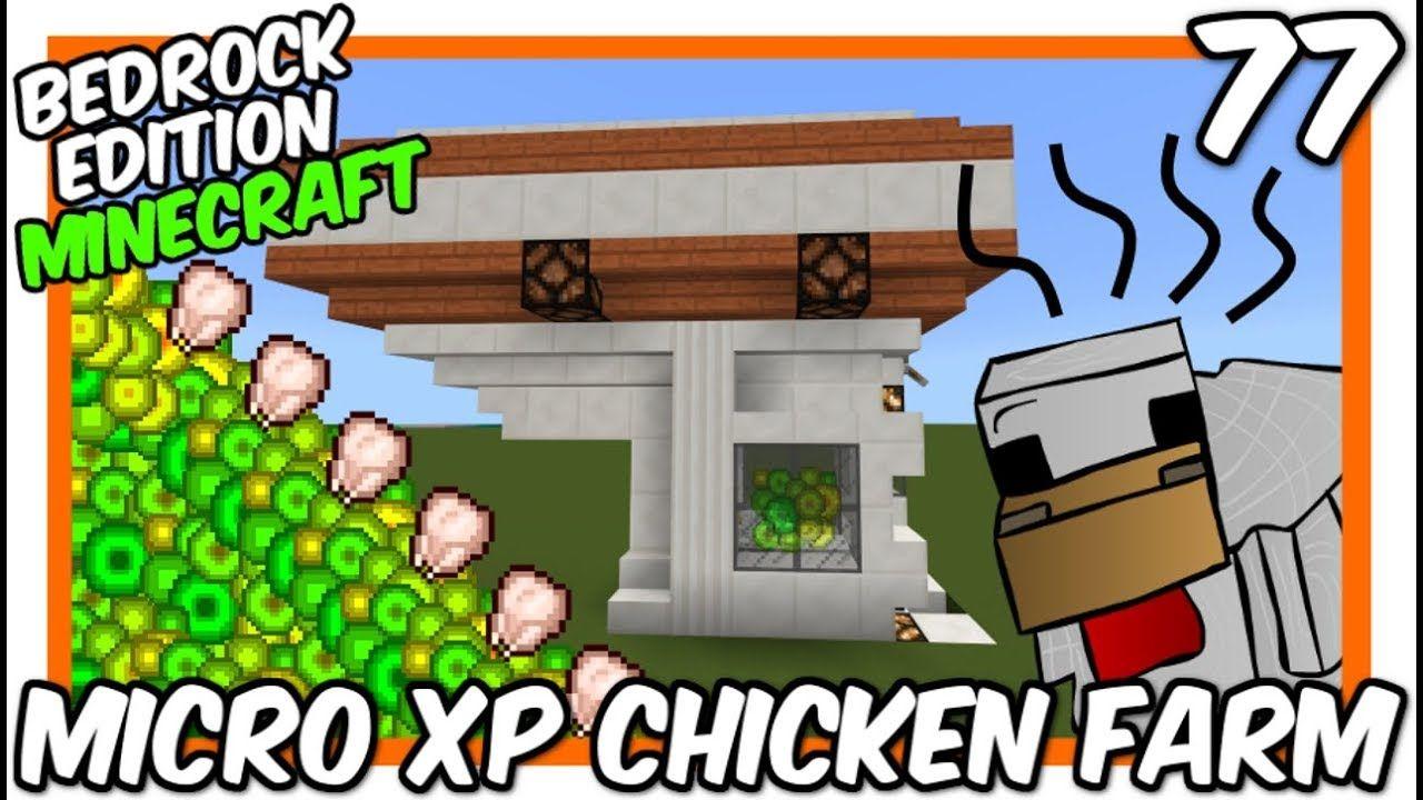 Bedrock Edition Micro Xp Chicken Farm Minecraft Farm Minecraft Minecraft Designs