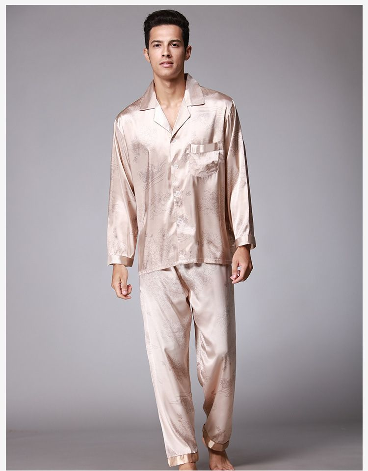 Autumn new mandarin duck mens pajamas summer autumn men long sleeve pyjama  twinset man sleepwear fits b2e9b42ef