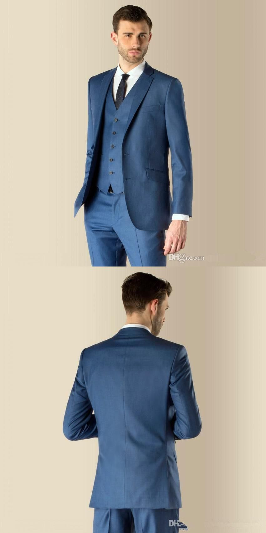 2017 terno masculino New Slim Fit Notch Lapel Best Man Suit Blue ...