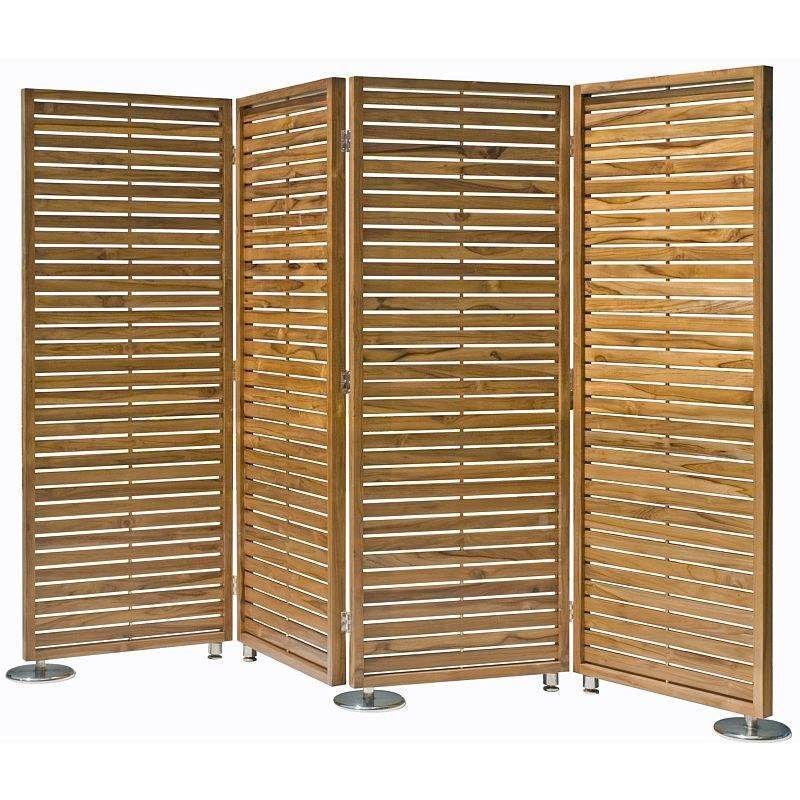 4 Fold Teak Wood Privacy Screen Room