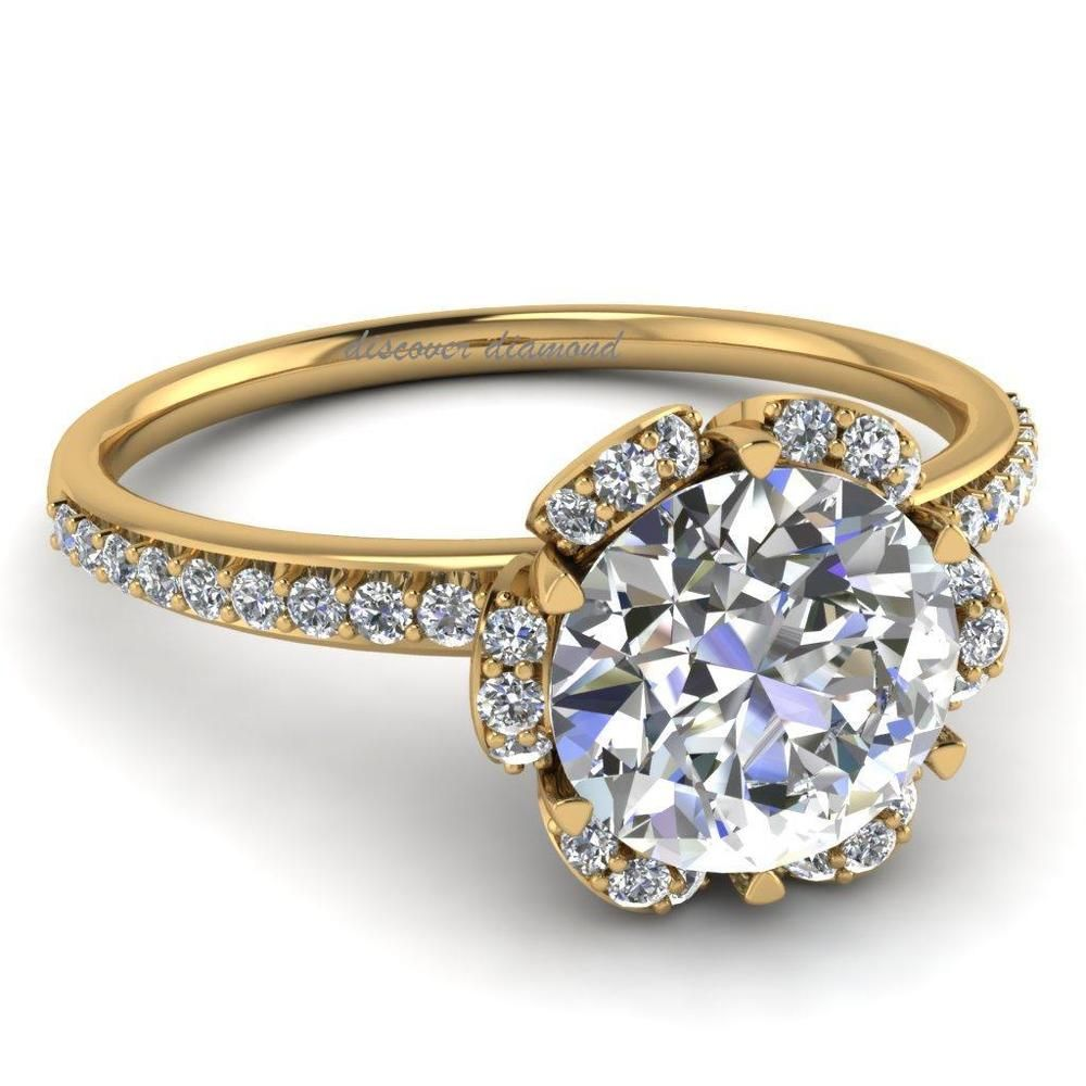 CERTIFIED HALO ENGAGEMENT  RING SOLID 14 K YELLOW GOLD WITH 1.40 CT DIAMOND #DiscoverDiamond #HALO