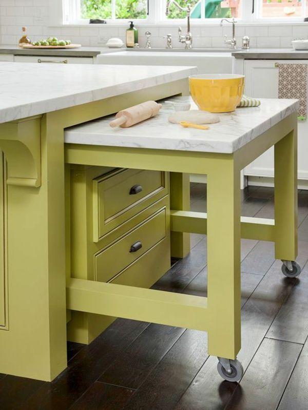 funktioenelle ideen für eine kleine küche - ausziehbarer tisch