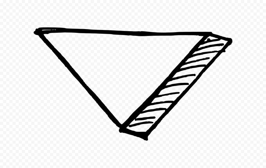 Black Outline Sketch Arrowhead 3d Effect To Down Outline Arrowhead Transparent Background