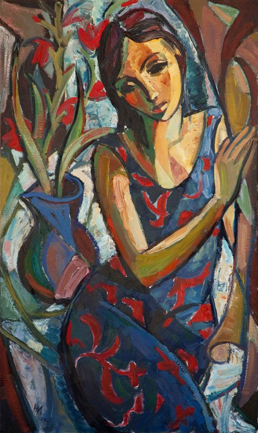 Hennie Niemann Jnr Woman Sitting On The Edge Of A Table Art Abstract Art Painting Cubism Art