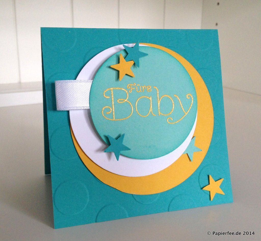 Babykarte, Embossing, Curry-Gelb, Bermudablau, Jade Große Punkte Prägefolder