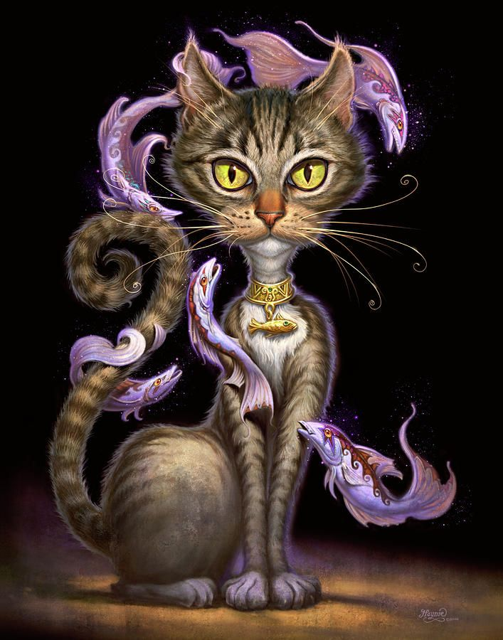 Feline Fantasy Painting  - Feline Fantasy Fine Art Print #art #painting #illustration