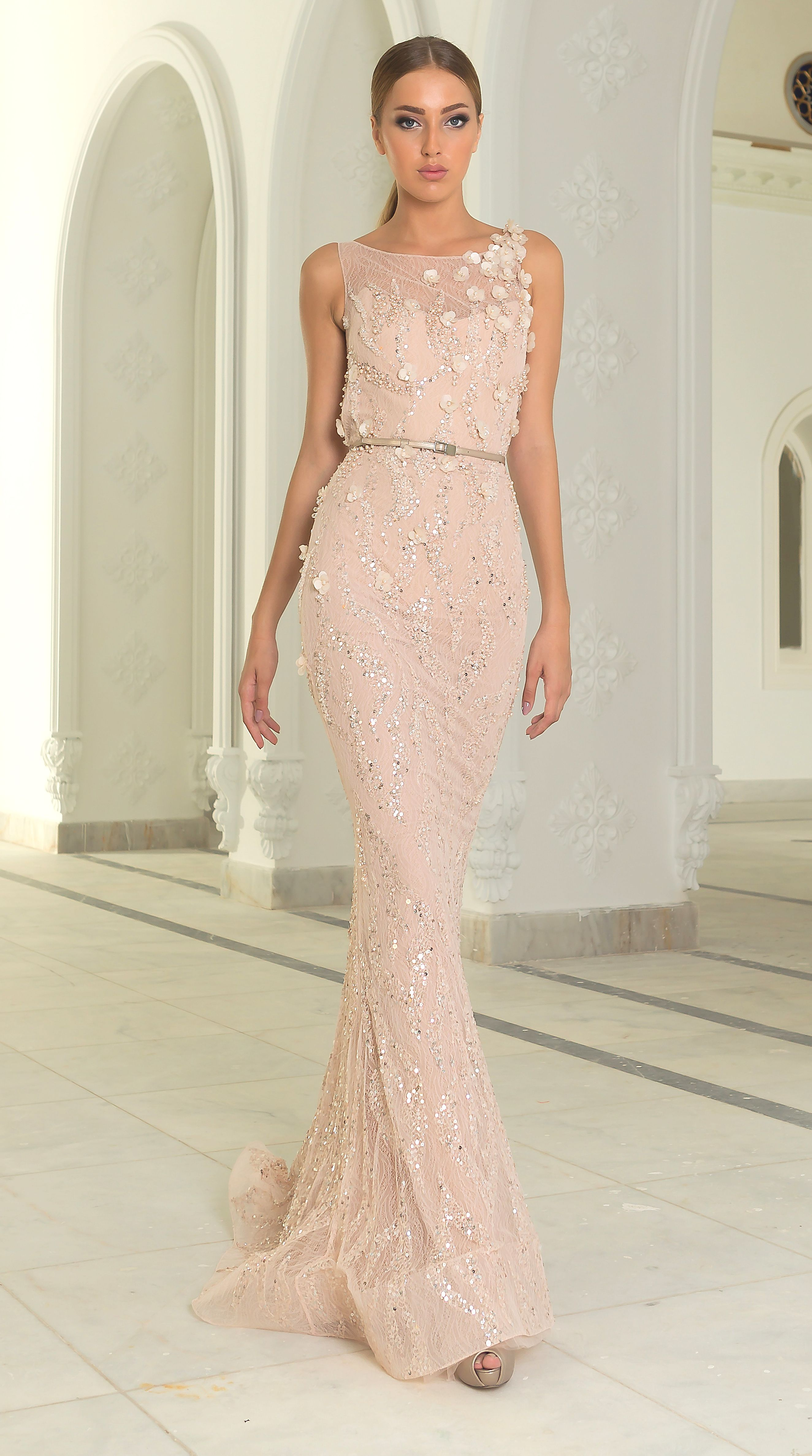 Abed mahfouz fallwinter beaded baby pink evening gown