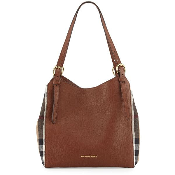 Burberry Canterby Small Check Shoulder Bag (100.220 RUB) ❤ liked on Polyvore featuring bags, handbags, shoulder bags, tan, brown handbags, brown shoulder bag, burberry purses, tan shoulder bag and leather handbags
