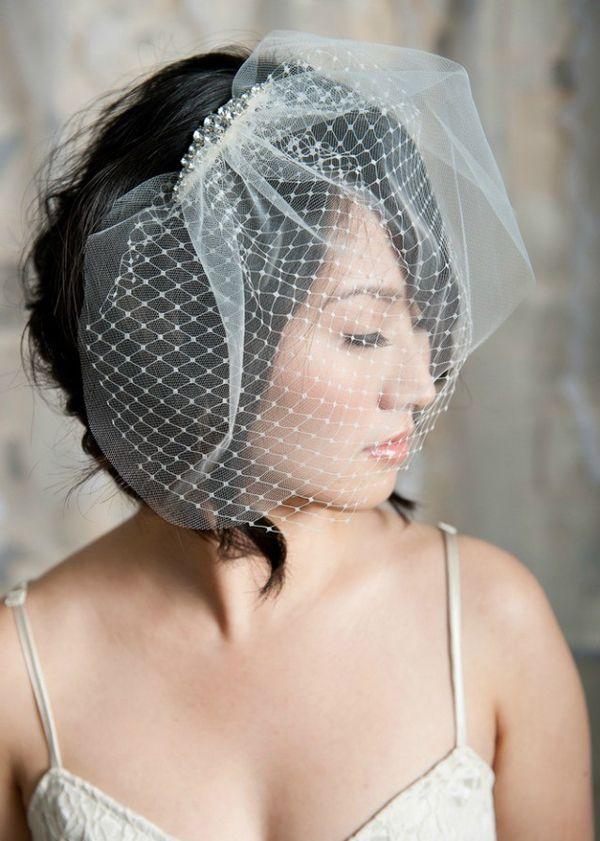 Short Wedding Hairstyles With Birdcage Veil Siji