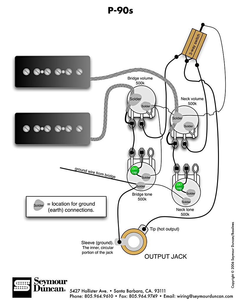 P-90s 2 Vol 2 Tone &Switch | PICKUPS AND WIRING DIAGRAMS ... on wiring a switch from a switch, three way switches diagram, electrical switches diagram, electrical outlets diagram, switch diagram, three prong power cord diagram,