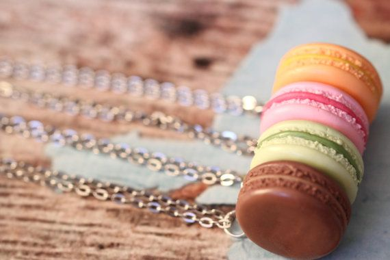 Realistic Polymer Clay Macaron Necklace 4 by KitschyKooDesign
