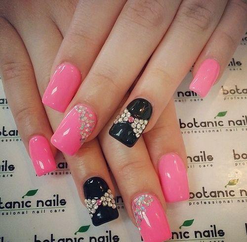 Pink And Black Rhinestone Nails Nail Pretty Art Ideas