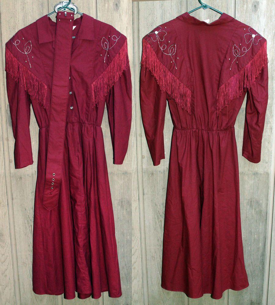 Cowgirl costume square dance dress women maroon fringe long western