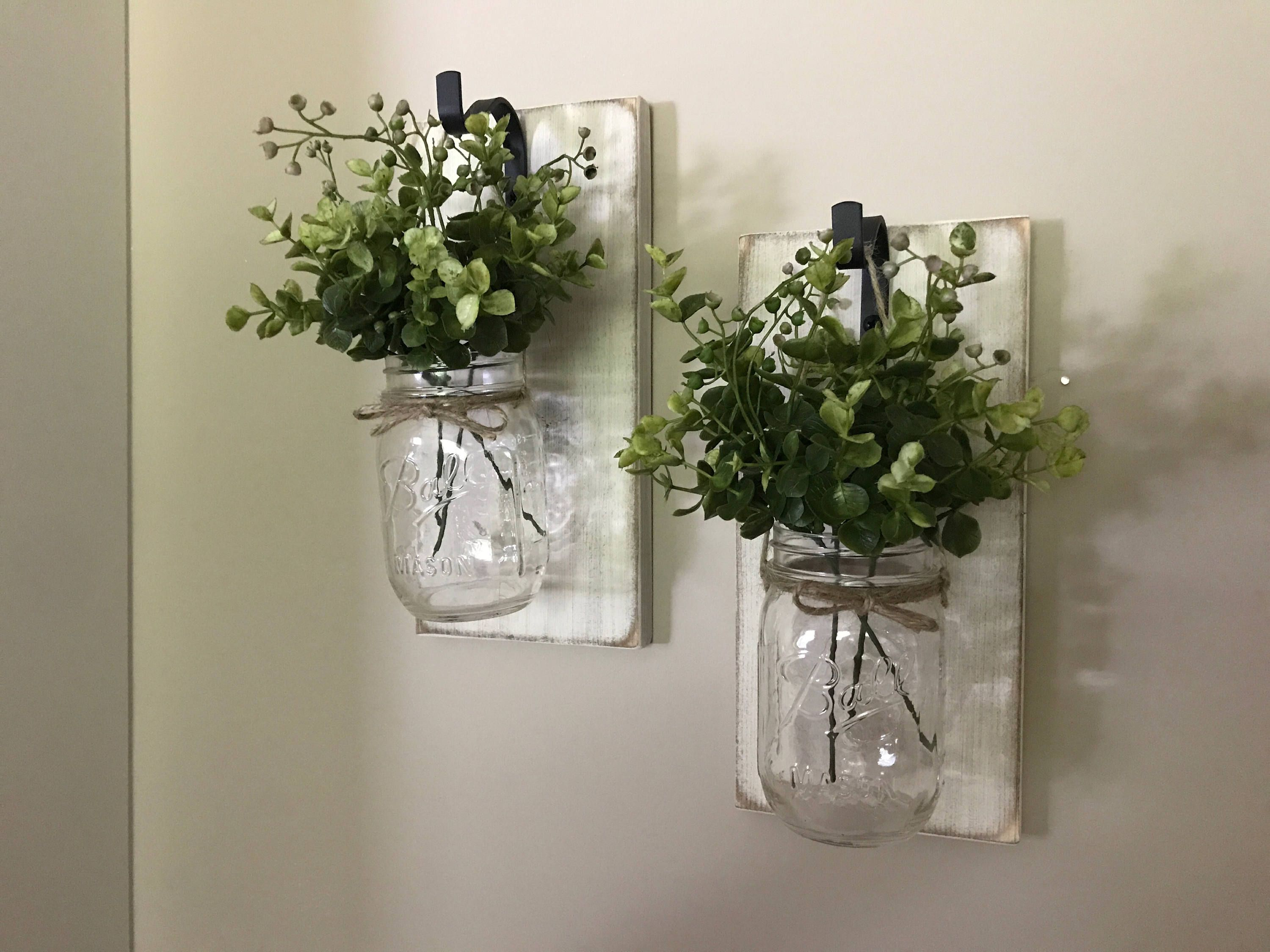 Wedding decorations at home  Rustic Home Decor Home u Living Set of  Hanging Mason Jar Sconces