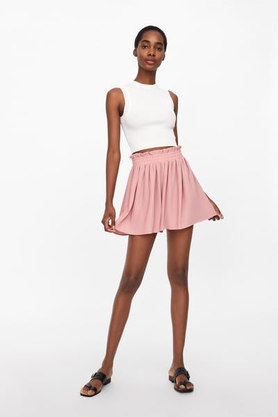 81c9d299e7 ZARA - Female - Pleated shorts - Pink - Xs | Products in 2019 ...