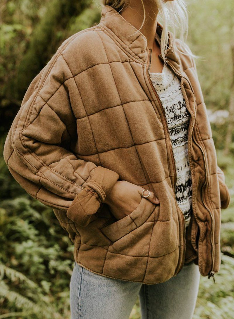 Zipper Quilted Coat With Pocket Jacket Outerwear Fashionlulus Quilted Jacket Outfit Quilted Jacket Fashion [ 1091 x 800 Pixel ]