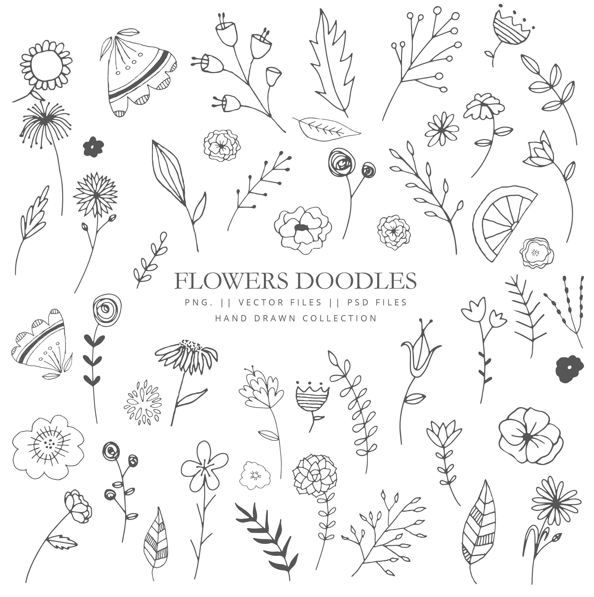 Clip art with doodle flowers, leaves and branches, hand