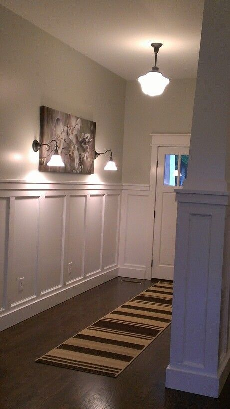 recessed shaker style wall paneling in hallways and. Black Bedroom Furniture Sets. Home Design Ideas