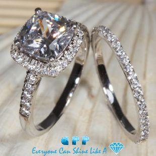 aliexpresscom buy luxury quality 3 carat cushion cut nscd diamond wedding ring set - 3 Carat Wedding Ring