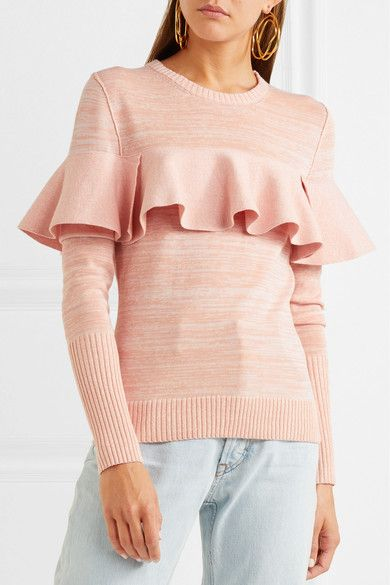 Ruffled Mélange Cotton-blend Sweater - Pink Apiece Apart