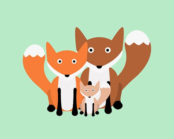 Woodland Fox Family, Children's Artwork for Nursery or Kid's Room, 8x10