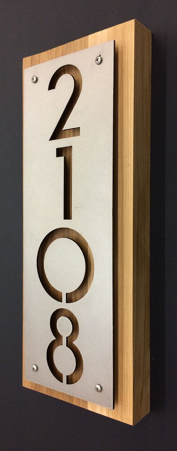 stainless steel cedar house numbers address plaque