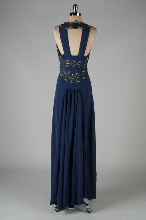 Vintage 1930\'s Petrol Blue Jeweled Bias Gown with Belt | Pinterest ...