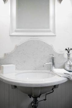 Splash Detail Lukas Machnik Design Bathrooms Small Bathrooms Wall Mount Sink Wall Mounted Marble Backsplash Bathroom Vanity Backsplash Marble Backsplash