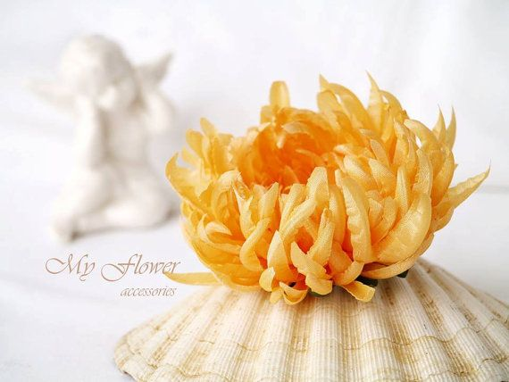 Yellow flower brooch floral corsage broach silk chrysanthemum yellow yellow flower clip floral corsage brooch silk chrysanthemum headpiece yellow wedding gift for her bridal yellow hair clip gift for her mightylinksfo