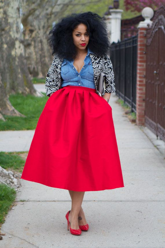 Wide Voluminous Midi Skirt   LOVE  Ready to ship by tribalgroove