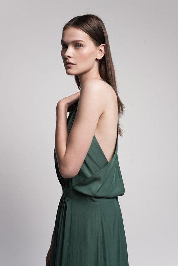 Emerald green maxi open back evening dress