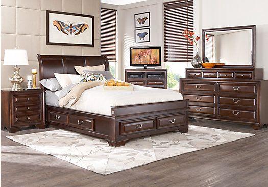 Mill Valley II Cherry 5 Pc Queen Sleigh Bedroom with Storage   Queen Bedroom  Sets Dark Wood. picture of Mill Valley King Cherry Sleigh 7Pc Bedroom from Bedroom