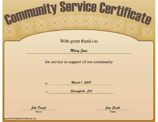 service certificate templates