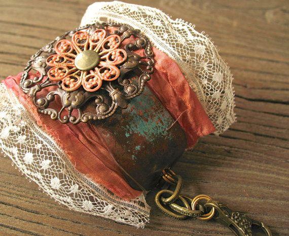 Steampunk Lace Cuff Romantic Cream Ivory by hotrocksglassjewels - romantic halloween ideas