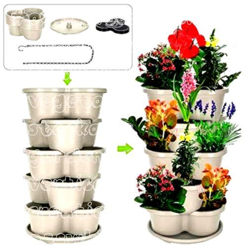 Creation Stackable Planter Vertical Garden for Growing Strawberries Herbs Flowers Vegetables and Succulents Indoor Outdoor 5 Tier Gardening Tower Hanging Planter OffWhite...