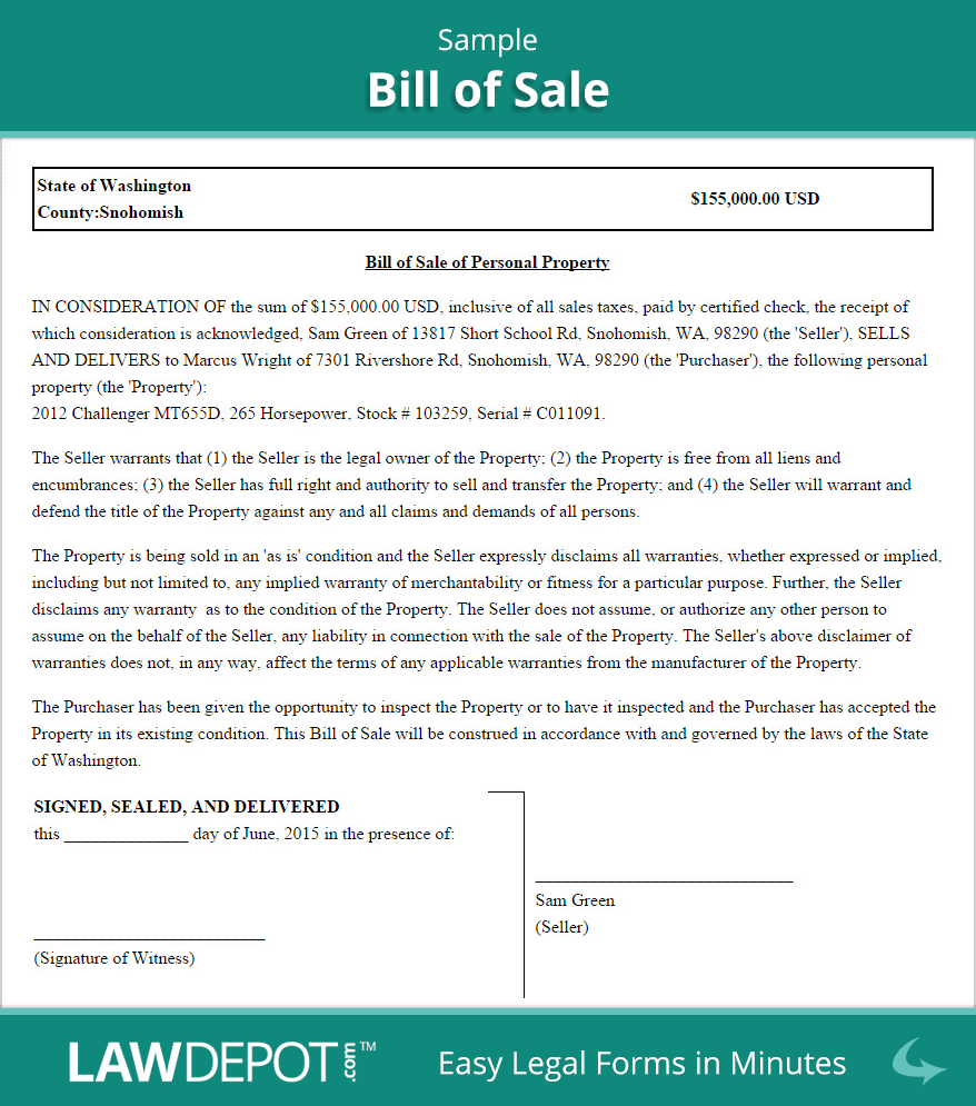 Sample Bill Of Sale  Bill Of Sale    Room