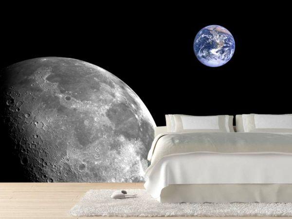 Schlafzimmer-Mond-Fototapete-elegante-Idee kinderzimmer