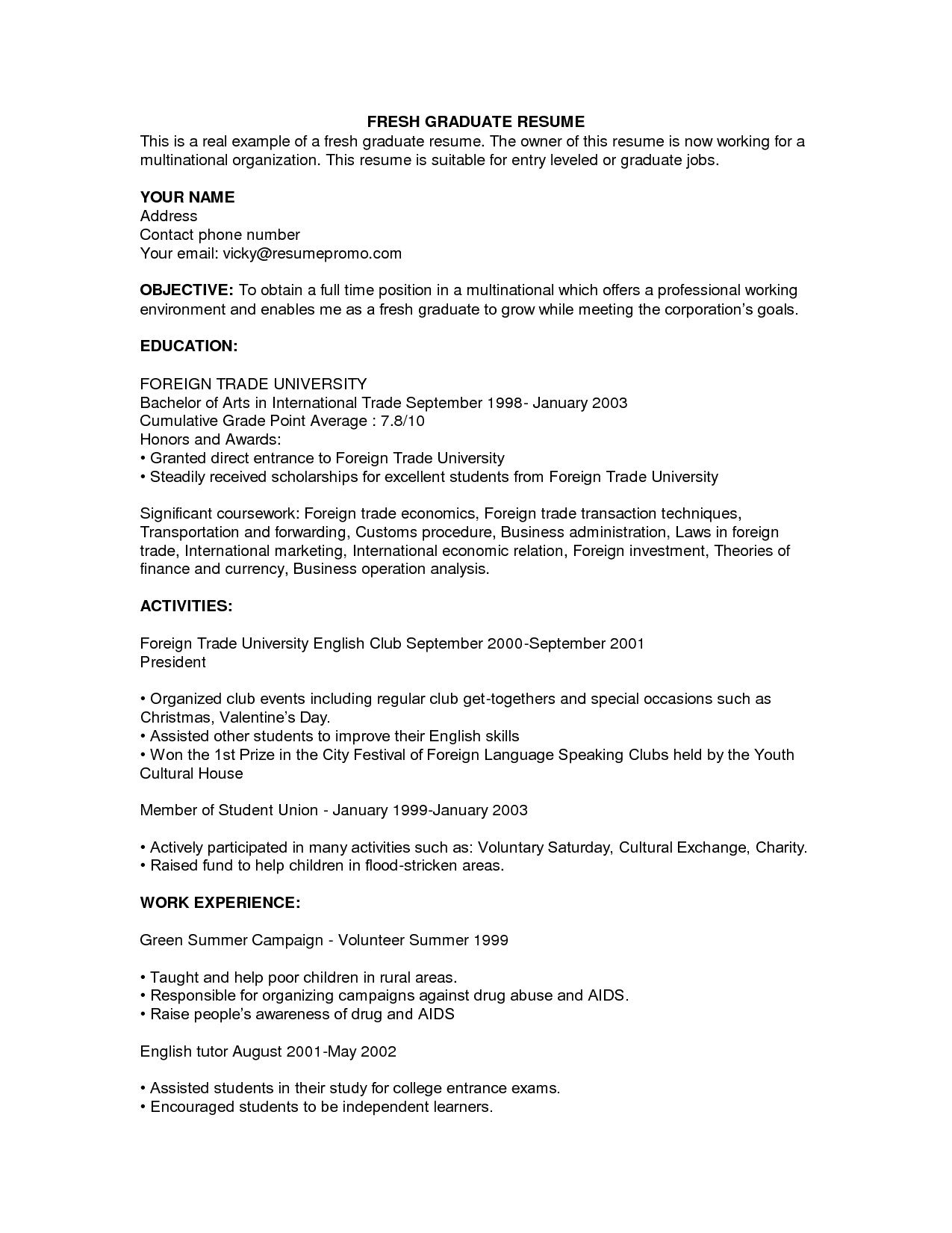 resume resume objective examples for fresh graduates example of resume for fresh graduate httpjobresumesample com com249