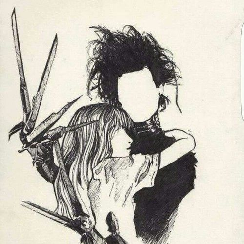Imagen De Johnny Depp Edward Scissorhands And Drawing Tim