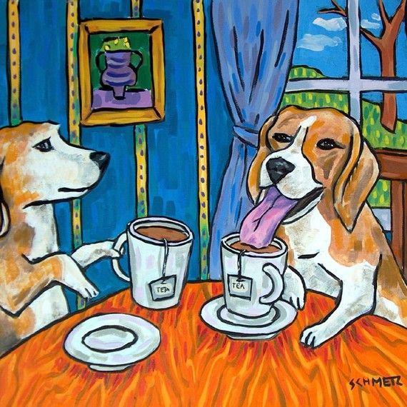 Beagle cereal breakfast picture dog art tile coaster